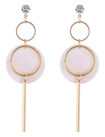 Elegant Beige Vertical Shape Decorated Long Earrings