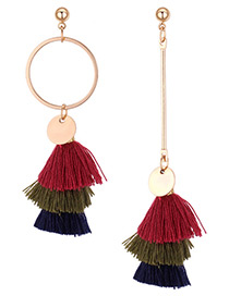 Fashion Red+green+navy Color-matching Decorated Earrings