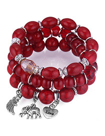 Vintage Red Elephant&wing Decorated Multi-layer Bracelet