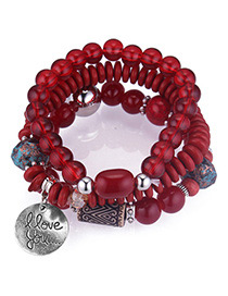 Personality Red Round Shape Pendant Design Multi-layer Bracelet