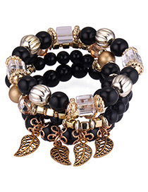 Fashion Black Hollow Out Leaf Pendant Decorated Bracelet
