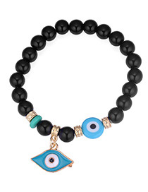Personality Black Eye Shape Pendant Decorated Beads Bracelet
