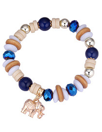 Vintage Blue Elephant Pendant Decorated Beads Bracelet