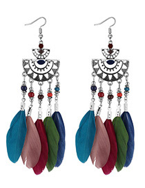 Fashion Multi-color Semicircle Shape Decorated Earrings