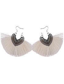 Vintage White Tassel Decorated Earrings