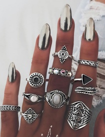 Fashion Silver Color Geometric Shape Decorated Rings Sets