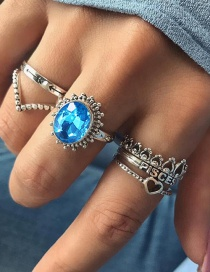 Fashion Silver Color+blue Oval Shape Decorated Rings Sets