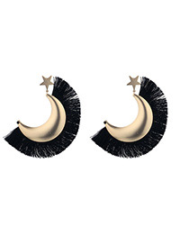 Fashion Black Moon&star Shape Design Earrings