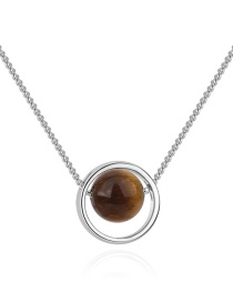 Fashion Silver Color+brown Round Shape Decorated Necklace
