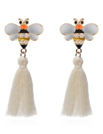 Fashion White Bee Shape Decorated Tassel Earrings