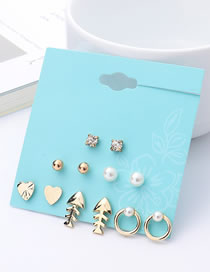 Fashion Gold Color Fish Shape Decorated Earrings Sets (12 Pcs )