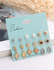Fashion Gold Color Water Drop Shape Decorated Earrings Sets (18 Pcs)