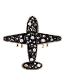 Elegant Black Full Pearls&diamond Design Aircraft Shape Brooch