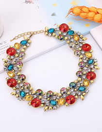 Elegant Multi-color Full Diamond Design Color Matching Necklace