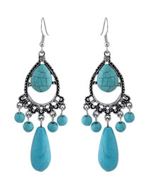 Simple Blue Water Drop Shape Decorated Earrings