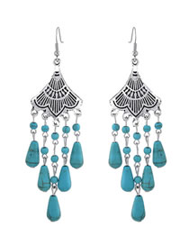 Simple Silver Color+blue Sector Shape Decorated Earrings