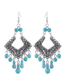 Simple Blue Hollow Out Design Pure Color Earrings