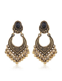 Simple Antique Gold Flower Pattern Decorated Earrings
