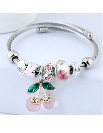 Fashion Light Pink Cherry Shape Decorated Bracelet