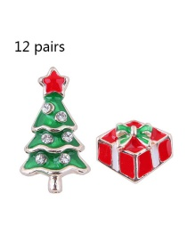 Fashion Green+red Christmas Tree Shape Decorated Earrings(12pairs)