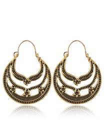 Fashion Gold Color Hollow Out Deisgn Flower Pattern Earrings
