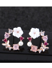 Fashion Pink+white Flower Shape Decorated Earrings