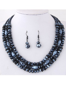 Simple Navy Pure Color Decorated Jewelry Set