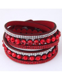 Fashion Red Full Diamond Decorated Bracelet