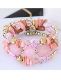 Fashion Pink Bead Decorated Multi-layer Bracelet