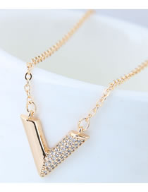 Elegant Gold Color V Shape Pendant Decorated Long Necklace