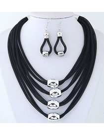 Elegant Black Pure Color Design Multi-layer Jewelry Sets