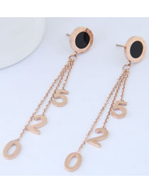 Fashion Rose Gold Number 520 Decorted Tassel Earrings