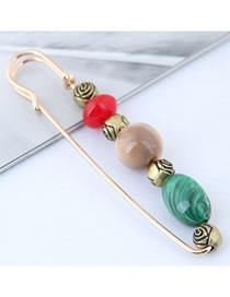 Fashion Red+green Oval Shape Design Color Matching Brooch