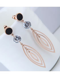 Fashion Rose Gold Hollow Out Oval Shape Decorated Earrings