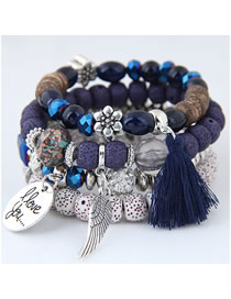 Fashion Blue Multi-layer Design Tassel Bracelet
