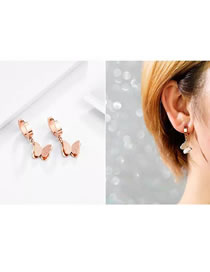 Simple Rose Gold Butterfly Shape Decorated Earrings