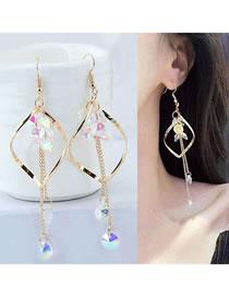 Fashion Gold Color Waterdrop Shape Design Long Tassel Earrings