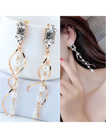 Fashion Gold Color Pearl&diamond Decorated Long Earrings