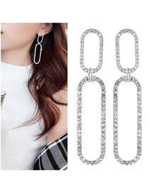 Fashion Silver Color Full Diamond Design Hollow Out Earrings