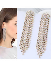 Fashion White Full Diamond Design Long Tassel Earrings