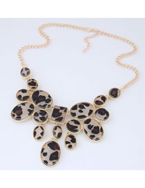 Elegant Brown Leopard Pattern Decorated Necklace