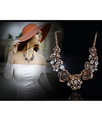 Elegant Gold Color Flowers Decorated Jewelry Sets