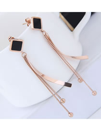 Elegant Rose Gold Balls Decorated Long Tassel Earrings