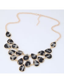 Elegant Gray Leopard Pattern Decorated Necklace