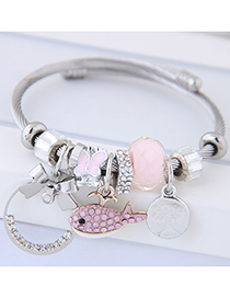 Fashion Pink Fish Shape Decorated Multi-element Bracelet