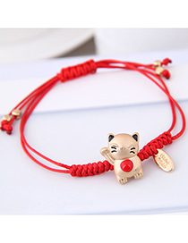 Fashion Red Cat Shape Decorated Bracelet