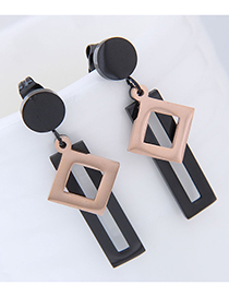 Fashion Gold Color +black Geometric Shape Decorated Earrings