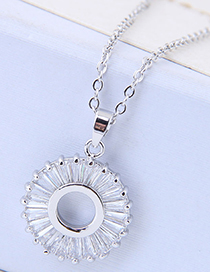Sweet Silver Color Circular Ring Decorated Necklace