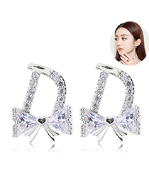 Sweet Silver Color Full Diamond Design Butterfly Shape Earrings