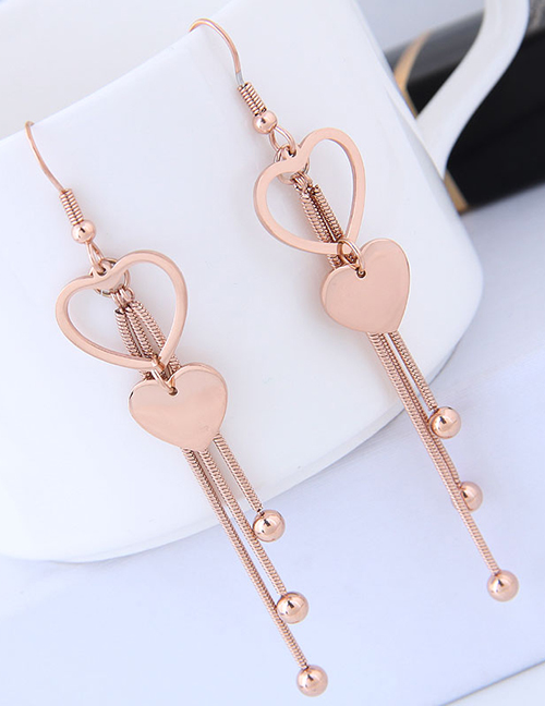 Elegant Rose Gold Heart Shape Design Tassel Earrings